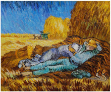 Handmade Wall Painting Vincent Van Gogh Noon: Rest from Work Landscape Oil Painting on Canvas Home Decor Impressionist(China)