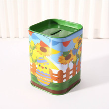 Stduent Kids Gift Cute Metal Candy Trinket Tin Jewelry Iron Piggy Bank Coin Storage Square Box Case  Storage Box  Bin F901