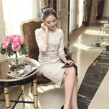 British style fashion 2017 women autumn winter brand beading split sexy casual work tweed dress 8404