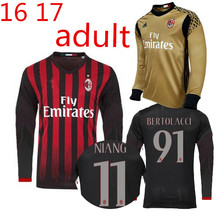 hyy-90 Top Thai AAA quality Best AC Long sleeves Soccer jersey adult Home Milan 16 17 goalkeeper shirt Free shipping gg6-0