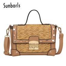 Sunborls Women beach bag ladies messenger crossbody Bags woman Shoulder Handbags high quality bamboo tote bag 3V664(China)