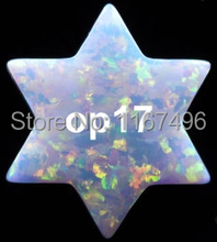 100pcs /lot   Free Shipping  8mm Synthetic Drilled  David Star Cabochon Fire  Opal Stone for pendant & necklace