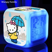 Very Cute Hello Kitty Alarm Clock,Glowing Color Change Kitty CAT Digital Alarm Clocks for Kids Festival gift toy Alarm Clock(China)