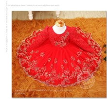 High Quality mesh yarn baby girls long sleeve 1 year old birthday dress sequin baptism christening wedding dress Red / Purple(China)