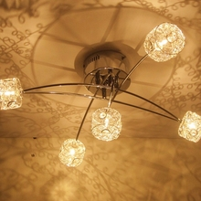 Free Shipping Modern Fixture Lighting Aluminium Wire Crystal LED ceiling light fixture for living room
