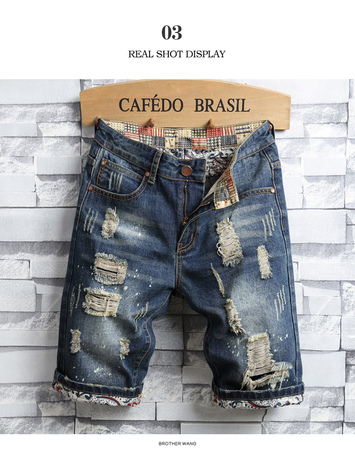 Men's Hole Denim Shorts 2020 Summer New Fashion Casual Slim Fit Ripped Retro Short Jeans Male Brand