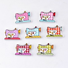 Free Shipping Retail 10pcs Mixed 2 Holes Cartoon European Sewing Machine Style Wood Sewing Buttons Scrapbooking 26x20mm F0133