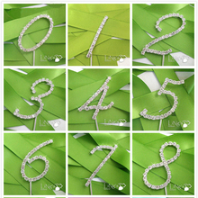 1pc Sparkling Crystal Rhinestone Number Cake Topper Kids First ONE Birthday Party Baby Shower Party Favor Wedding Decoration(China)