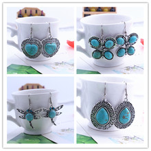 free shipping!! 7 style selection of natural gem jewelry wholesale Romantic Turquoise Earrings Pendant  Female style earrings
