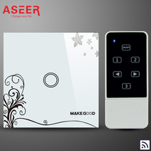 ASEER EU Standard 1 Gang Capacitive Touch Glass Panel Wireless Electrical Touch Light Switch 1000W with Remote Control RF 433Mhz
