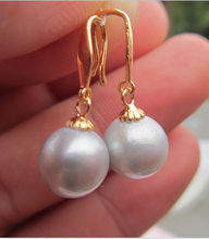 Genuine 10-11MM AAA++ south sea gray pearl earrings  GOLD t