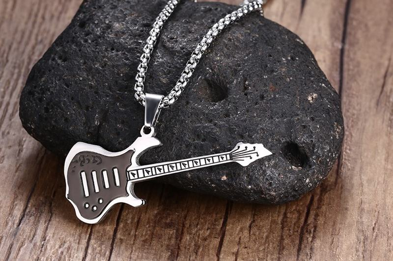 Cool Men _ Boys Black Electric Guitar Pendant Necklace Stainless Steel Mens Jewelry For Clothing Accessories 14