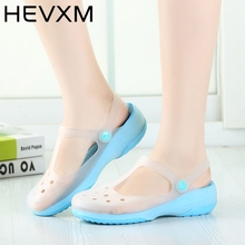 HEVXM Promotions Summer 2017 New Color Large Size Thick Sandals Woman Anti-Skid Hole Jelly Shoes Flat Garden Beach Shoes