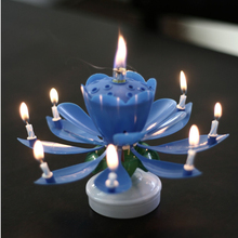 Various Colors Birthday Candles Romantic Musical Blossom Lotus Flower Happy Birthday Party Cake Decoration Free Shipping