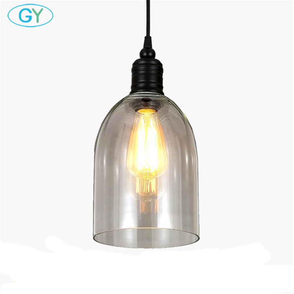 AC100-240v Clear bell glass pendant lights Vintage Edison Dining room lamps fixtures Hanging wire adjustab E27 Hanging Lamp<br>