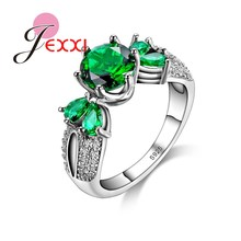 JEXXI Luxury Green Imitated Gemston Party Rings For Women Sterling Silver Wedding Engagement Finger Ring Jewelry Accessory Gift