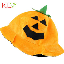 Cos Halloween Pumpkin hat Pumpkin Motifs Lint Top Orange Hats  Eye-catching for parties, carnivals, costume party  17SEP1