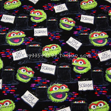 140X100cm Sesame Street Rubbish Bin Black Cotton Fabric for Baby Boy Cloth Sewing Bedding Set Hometextile Patchwork-AFCK516