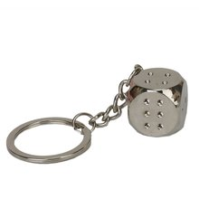 Metal alloy cube Keychain Keychain Keyring Silver Clay(China)
