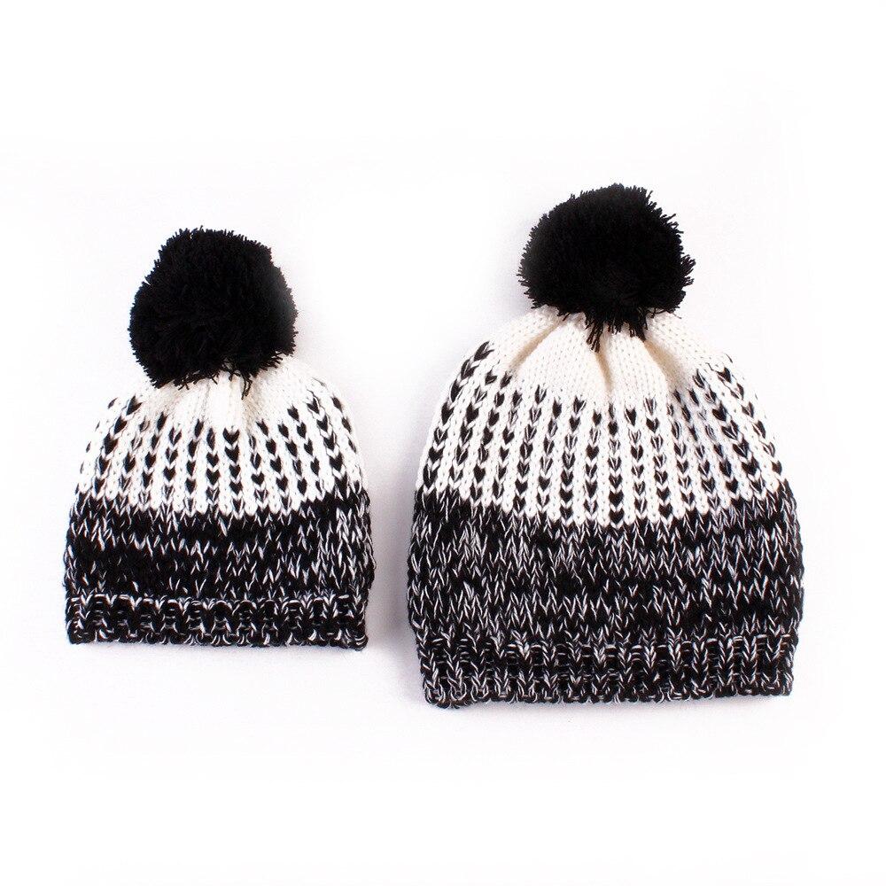 Winter Mom &amp; Newborn Baby Beanie Boy Girl Hats cap Children Baby Hats Crochet Knit Beanie Knit Crochet cap HairballÎäåæäà è àêñåññóàðû<br><br><br>Aliexpress