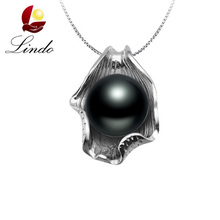Black Pearl Pendant Necklace Women Nature Freshwater Pearls Pendants 925 Sterling Silver Jewelry Wings Shell Hello Kitty Pendant
