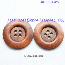 "(25pcs/lot) 50mm Huge Wooden Sewing Button Coat Hat Wood Butons Bulk 2.0"" Brown -BG0081B"