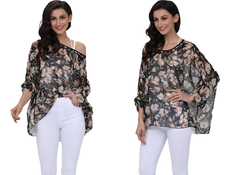 BHflutter 18 Women Tops and Blouses Plus Size Floral Print Casual Chiffon Blouse Boho Style Batwing Sleeve Summer Shirt Blusas 23