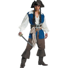 M - XL Exports Uniform Man Pirate Jack Cosplay Costumes Pirates of the Caribbean Halloween Disfraces Game Male Clothing H151233(China)