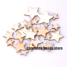 10-30mm Natural wooden Star Scrapbooking Carft Buttons for Home decoration About 100pcs MT0589