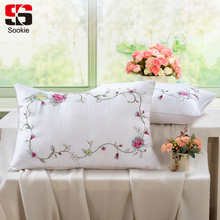 Sookie Fashion Floral Print Sleeping Pillow Neck Health Care Cotton Bedding Pillow Zero Pressure Cushion Soft Throw Pillows(China)