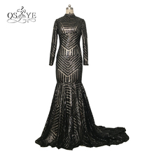 2017 Michael Costello Long Sleeve Evening Dress Bling Bling Black Sequins High Neck Mermaid Sexy Pageant Evening Gown
