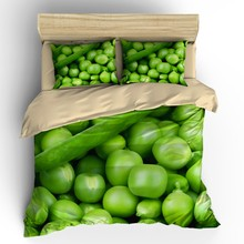 AHSNME 3D Effect Tropical Vegetables Collection Cover Set Summer Bedding Set Green Bean Corner Customized King Queen Bed Set(China)