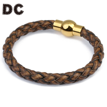 DC Vintage Gold Color Stainless Steel Magnetic Clasps Brown Braid Leather Cord Ropes Charm Bracelet for Men Male Punk Jewelry(China)