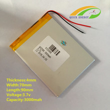 5pcs 3.7V thium polymer battery 407090 047090 mp5 GPS Onda flat battery 3000mah