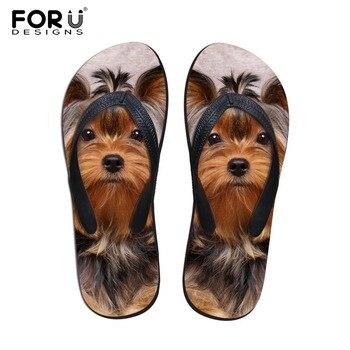 Forudesigns 2017 playa de moda de verano flip flop mujeres zapatillas lindo 3d pet cat dog terrier impresos sandalias de dama zapatos de los planos