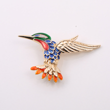 New Fashion Animal Brooch Gold Color with Orange Blue Green Red Enamel Cute Hummingbird Brooches for Fashion Lady(China)