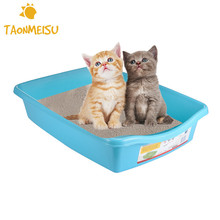 Blue Flat Bottom Pet Cat Litter Trays Smooth Pet Toilet Training Wc Animal Toilet Restroom Tray Toilet Drop Shipping(China)