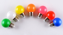 Hot 1W E27 Coloured Round LED Golf Ball Light Bulb Lamp Ktv Party Light New(China)