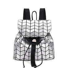 New stylish geometric diamond lattice backpack foldable laser school bags girls mini travel bag(China)