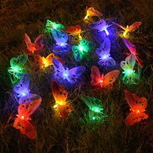 6m 20 led butterfly string light christmas fairy light led solar power fiber optic outdoor garden party wedding decoration(China)