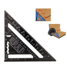 Triangle Ruler Measuring Tool Black Aluminum Alloy Square Layout Guide Construction Carpenter Woodworking 7inch/185mm ZK223