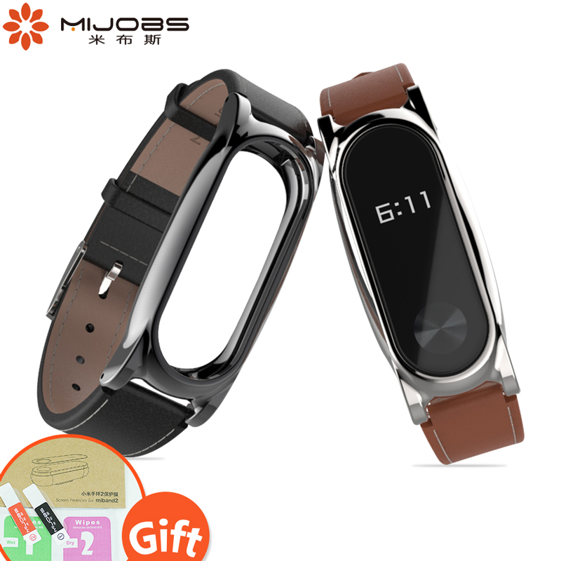Mijobs Genuine Leather Strap Watch Band Noble Mi Band 2 Bracelet Strap Mi Band 2 Smart Wrist Accessories Xiaomi Mi Band 2