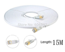 Free Shipping 15M Network Cable Ethernet Cable Cat 7 RJ45 M/M Thin High Speed Flat Shielded Twisted Pair Internet Lan