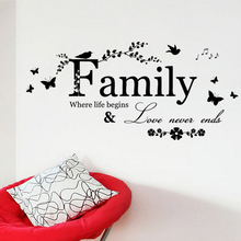 Black Cotton Family Love Never Ends Quote vinyl Wall Decal Wall Lettering Art Words Wall Sticker Home Decor Wedding Decoration(China)