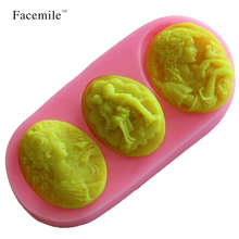 Facemile Lovers Valentine Kiss Silicone Fondant Soap 3D Gift Mold Cupcake Jelly Candy Sugar Decoration Baking Moulds 50-241(China)