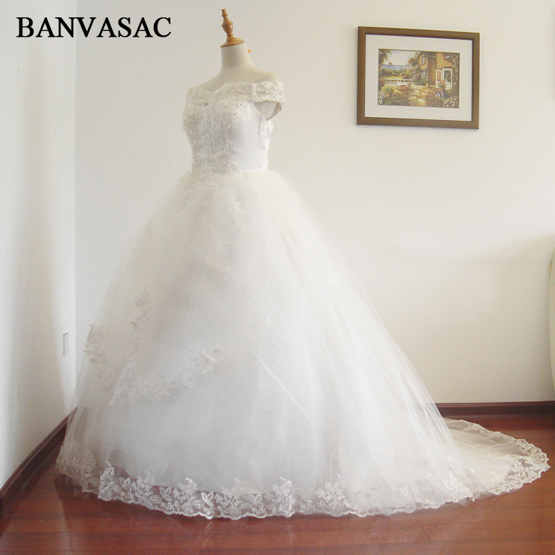 BANVASAC 2017 New Line Short Sleeve Court Train White Satin Bridal Wedding Dress Wedding Gown Vestido De Noiva W0130