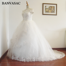 Buy BANVASAC 2017 New Line Short Sleeve Court Train White Satin Bridal Wedding Dress Wedding Gown Vestido De Noiva W0130 for $76.49 in AliExpress store