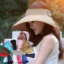 COKK Brand 2017 New Spring Summer Visors Cap Foldable Wide Large Brim Sun Hat Beach Hats for Women Straw Hat Wholesale Chapeau(China)