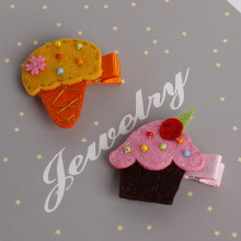 New Children's Jewelry Baby Hair Hairpin Cute Ice Cream Cake Tiara Cloth Baby Hair Clips For Children Acessorio De Cabelo T