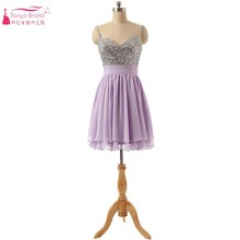 A Line Lavender Chiffon Cocktail Dresses Sequins Short Mini Party Dress Gown Cheap Price Real Photos Brithday Dress 2018(China)